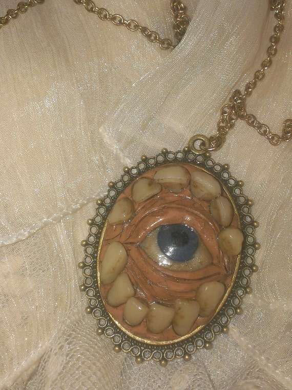 Skull skull jewelry eyeball necklace eyeball vintage like this item aloadofball Choice Image