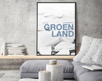 Poster printable glacier, post modern glacier, Greenland scenery, iceberg, black and white, blue letters, digital file
