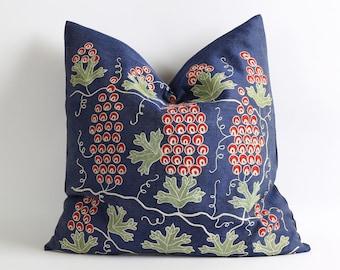 20x20 suzani pillow cover, navy blue throw pillows hand embroidery uzbek suzani pillows cover navy blue