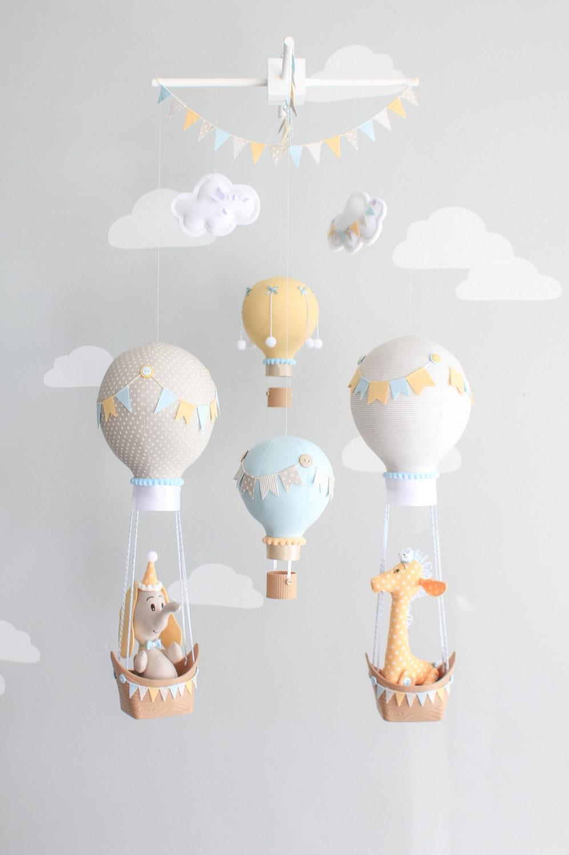 Hot air balloon baby mobile giraffe and elephant nursery zoom arubaitofo Image collections