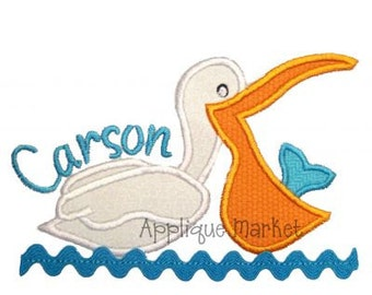 Machine Embroidery Design Applique Pelican INSTANT DOWNLOAD