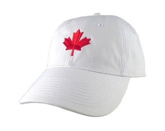 Canadian Red Maple Leaf Canada Embroidery on an Adjustable White Unstructured Classic Baseball Cap with Option to Personalize the Back