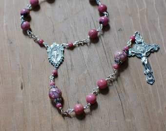 Rhodonite and Sterling Silver Chaplet