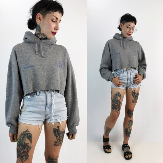 Vintage Police Issued Cropped Pullover Hoodie Medium - Heather Gray Faded Badge Pullover Crop Top Long Sleeves - Soft Cotton Jumper Crop Top