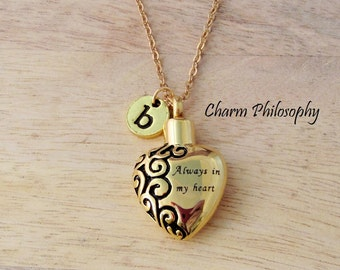 "Gold ""Always in my heart"" Cremation Necklace - Hollow Heart Pendant - Personalized Keepsake Jewelry - Ashes Urn Necklace - Memorial Jewelry"