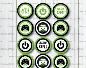 Printable Cupcake Toppers, Video Game Party, Game On, Green, Teen, Gaming, Level Up, Gamer, Birthday, Decorations, DIY,  INSTANT DOWNLOAD