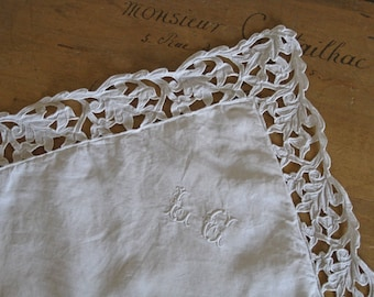 Pair of square pillowcases, Edwardian bedding with cutwork and monogram LC