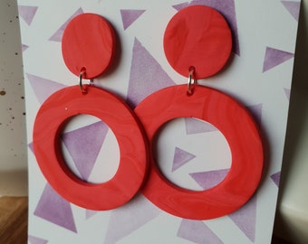 Red marble open circle dangles