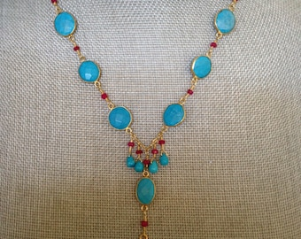 Turquoise, Ruby and White Topaz Vermeil Necklace