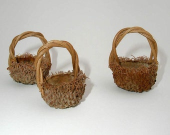 3 Large Acorn Baskets