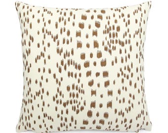 Brunschwig Fils Les Touches Tan and Cream Pillow Cover, 18x18, 20x20, 22x22, Eurosham or Lumbar, Leopard Print, Modern Spotted Cushion Cover