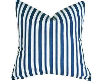 Blue Christmas Pillow, Farmhouse Pillow Covers, Blue Ticking Pillow, Blue White Pillow, Christmas Cushion, Striped Cottage Pillows, 18x18