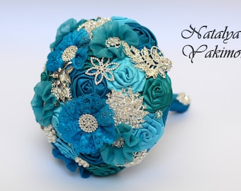 Brooch Bouquet, Bridal Bouquet, Wedding Bouquet, Fabric Bouquet, Unique Wedding Bridal Bouquet, Turquoise in silver, Flowers on a wedding