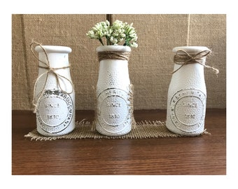 Rustic Milk Bottle Set