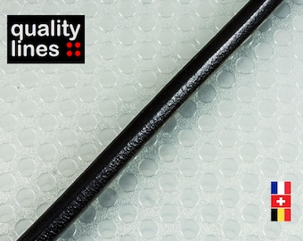 X 18CM - leather 5mm round black (18cm is enough to make a bracelet up to size XL)