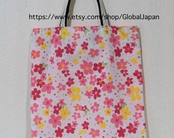 Handmade, tote bag, Sakura(Cherry blossom) design, 11 in x 12.6in (28cm x 32cm) , tenugui, inside pink color, No.4