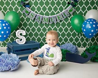 WHALE BANNER / 1st birthday boy / Whale baby shower banner / First birthday boy / 1st birthday banner / Whale birthday / Whale baby shower