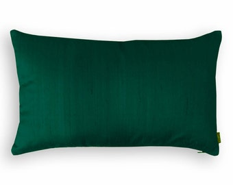 "Silk pillow, dark green color,  lumbar pillowcover, size 12""X20"""