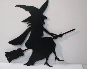 Witch on Broom Custom Metal Silhouette