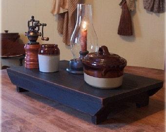 Rustic Farmhouse Table Riser Bench Primitive Kitchen Riser Handmade Lamp Black