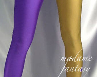 Two tone shiny spandex leggings purple gold