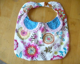 Baby Bib with Cute Collar, Velcro Closure, Flowery Bibs, Infant Bibs, Toddler Bibs, Baby Items, Baby Accessories, Bib, Baby Shower Gifts