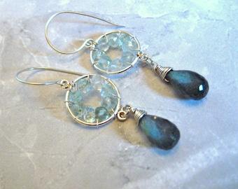 Pinwheel Design- Silver Earrings, Labradorite, Aquamarine, Wire Wrapped