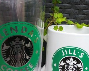 """Personalized """"Starbucks"""" Decal for Coffee Cup/Tumbler - DECAL ONLY"""
