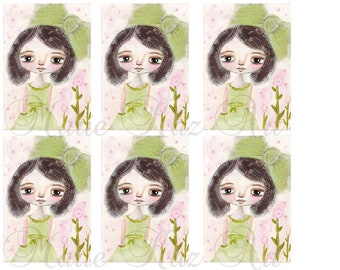 Spring Fling Digital Download Mixed Media Gift Tags Collage Original Art,  Gift tag, Art by Marie Kaz Art, Whimsical Girl, Seam Binding Tag