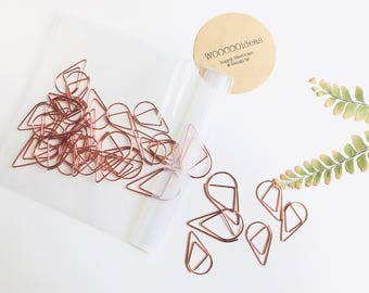 25 Small + 10 Large // Lovely Water Drop Paper Clips。Water Drop Paper Clips。Metal Clip。Paper Binder Clips。Planner Clip。Metal Wire P