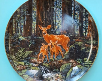 Woodland Deer, Friends of the Forest, Original Painting David Smith, Large Vintage Decorative Collectable Plate