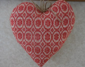 Primitive Cupboard Heart Vintage Red Woven Coverlet Farmhouse Decor