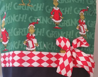 Dr Suess Grinch OR Vintage Look White Red Green Christmas Holiday Candy Cane Bell Pine  Purse Tote BAG or Diaperbag