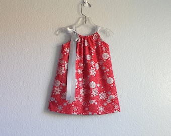 Girls Red and Silver Dress - Metallic Silver Snowflakes on Red - Girls Red Pillowcase Dress - Size 12m, 18m, 2t, 3t, 4t, 5, 6, 8 or 10
