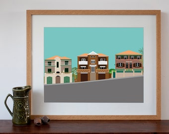 Clovelly 1930s Art Deco Flats on a Hill Retro Style Art Print