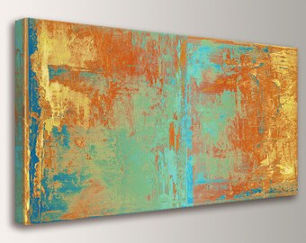 """Large Wall Art Canvas Print Abstract Wall Art Orange Yellow Teal and Green Abstract Painting Extra Large Oversized Canvas Art  """"Cabo"""""""