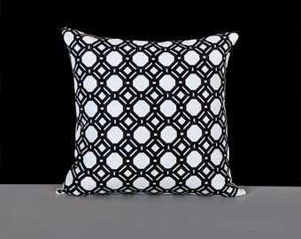 Black White Geometric Hexagon Pillow Cover