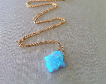 Blue Opal Hamsa Necklace, Hand made, 14k Gold Filled, Anniversary Gift, Birthday Gift Necklace, For Her, Good Luck Gift, Spiritual Necklace