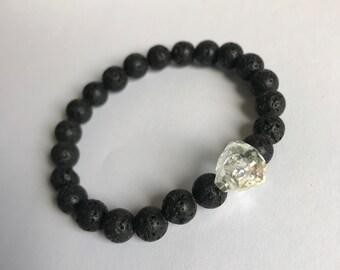 Men's Natural Lava stone & Clear swarovski Crystal Skull Bracelet Healing Stone Essential Oil Diffuser