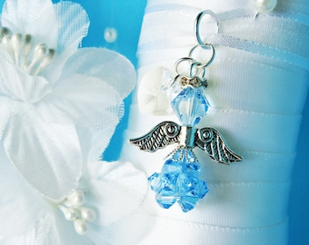 Something Blue Swarovski Crystal Aqua Blue Angel Bouquet Charm Wedding Bouquet Charm
