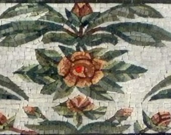 Flower Leaves Mosaic Mural