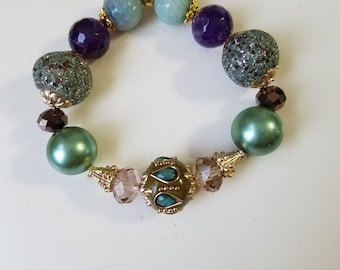 SB08 Turquoise, purple, stretch bracelets, Jessie James beads, gemstones, gold findings