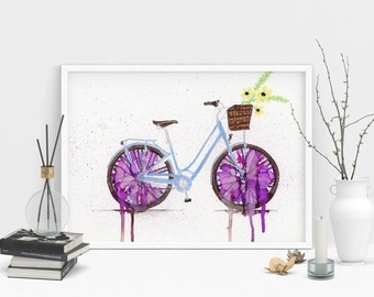 Bicycle Print. Purple Vintage Bicycle Painting.  Wall Art. Home Decor. Alcohol Ink Art.