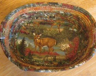 Hand Crafted Reversible Rope Bowl Basket features deer and cabin with rich green, russet, brown & gold 100% cotton