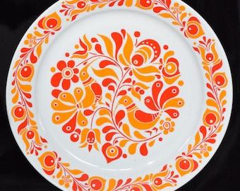 Retro Hungarian Folk Alfoldi Porcelain Wall Plate 28.5cm