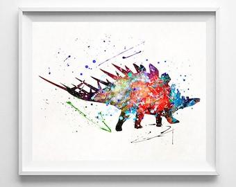 Dinosaur Poster, Dinosaur Art, Stegosaurus, Dinosaur Print, Dinosaur Watercolor, Stegosaurus Art, Boy Decor, Playroom Art, Mothers Day Gift