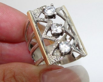 Jewela Sterling Silver and 9K Yellow Gold White CZ Ring size 8 (s r1712