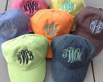 Monogrammed Adams Baseball Cap - Personalized Initials - Distressed Pigment Dyed