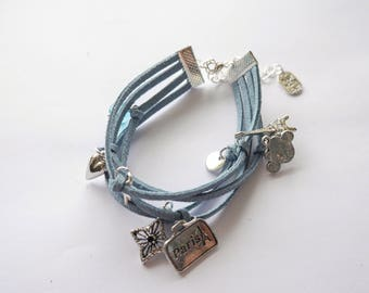 Bracelet suede MULTISTRAND blue denim with silver charms