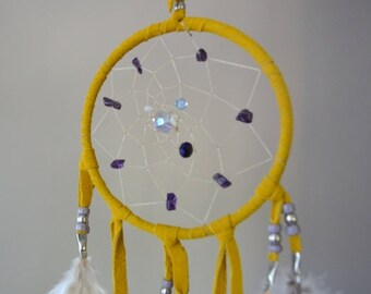 """Authentic Native American Amethyst Dream Catcher 4"""" Leather"""